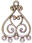 10 Antique Bronze 23x33mm Curvy Chandelier Drops