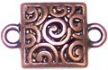 4 Antique Copper 23x15mm Square Connectors