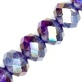 1 Strand of Plum AB 10x8mm Glass Crystal Rondelles