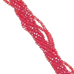 1 Strand of 3x2mm Glass Crystal Rondelle Beads - Bright Red