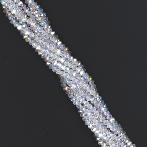 f4c618906 1 Strand of 3x2mm Glass Crystal Rondelle Beads - Clear Crystal AB