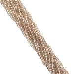 1 Strand of 3x2mm Glass Crystal Rondelle Beads - Light Smk Quartz