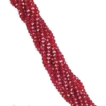1 Strand of 3x2mm Glass Crystal Rondelle Beads - Ruby