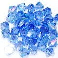 25 Light Sapphire 6mm Glass Crystal Bicones