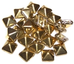 10 Czech Glass 12mm Pyramid Beads - Crystal Amber