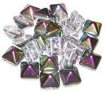 10 Czech Glass 12mm Pyramid Beads - Crystal Vitrail