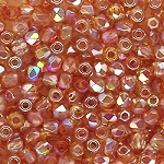 4 Dozen Czech 2mm Fire-Polished Glass Beads - Crystal Orange Rainbow