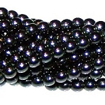 1 Strand of Czech Glass 3mm Pearl Beads - Charcoal