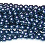 1 Strand of Czech Glass 3mm Pearl Beads - Dark Cyan