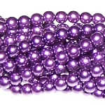 1 Strand of Czech Glass 3mm Pearl Beads - Deep Lilac