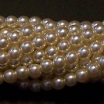 1 Strand of Czech Glass 3mm Pearl Beads - Ivory