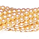 1 Strand of Czech Glass 3mm Pearl Beads - Light Gold