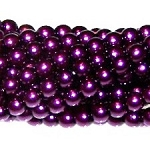 1 Strand of Czech Glass 3mm Pearl Beads - Purple