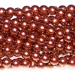 1 Strand of Czech Glass 3mm Pearl Beads - Shiny Copper