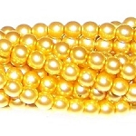 1 Strand of Czech Glass 3mm Pearl Beads - Sunglow