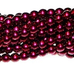 1 Strand of Czech Glass 3mm Pearl Beads - Wine