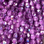 4 Dozen Czech 4mm Fire-Polished - Purple Metallic Ice