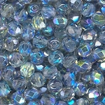 4 Dozen Czech 6mm Fire-Polished - Crystal Blue Rainbow