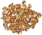 25 Czech Glass 7x5mm Flower Cup Beads - Aztec Gold