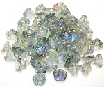 25 Czech Glass 7x5mm Flower Cup Beads - Crystal Blue Rainbow