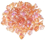 25 Czech Glass 7x5mm Flower Cup Beads - Crystal Orange Rainbow