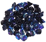 25 Czech Glass 7x5mm Flower Cup Beads - Jet AB