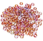 5 Grams of 4x1mm Czech Glass O-Beads - Crystal Brown Rainbow