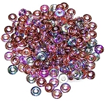 5 Grams of 4x1mm Czech Glass O-Beads - Crystal Copper Rainbow