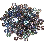 5 Grams of 4x1mm Czech Glass O-Beads - Crystal Graphite Rainbow
