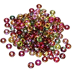 5 Grams of 4x1mm Czech Glass O-Beads - Crystal Magic Apple