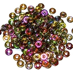 5 Grams of 4x1mm Czech Glass O-Beads - Crystal Magic Green