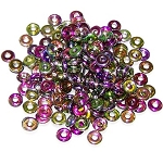 5 Grams of 4x1mm Czech Glass O-Beads - Crystal Magic Orchid