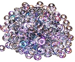 5 Grams of 4x1mm Czech Glass O-Beads - Crystal Silver Rainbow