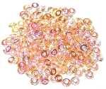 5 Grams of 4x1mm Czech Glass O-Beads - Crystal Yellow Rainbow