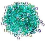 5 Grams of 4x1mm Czech Glass O-Beads - Emerald AB
