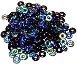 5 Grams of 4x1mm Czech Glass O-Beads - Jet AB