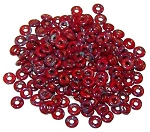 5 Grams of 4x1mm Czech Glass O-Beads - Opaque Red Picasso