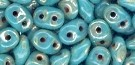 7.5 Grams - Superduo Beads - TURQUOISE GREEN PICASSO