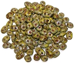7.5 Grams - Superduo Beads - Picasso Opaque Olive