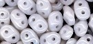 7.5 Grams - Superduo Beads - White Luster