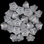 10 Czech Glass 8x13mm 5-Petal Trumpet Flower Beads - Crystal Luster