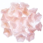 10 Czech Glass 8x13mm 5-Petal Trumpet Flower Beads - Milky Peach
