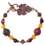 Antique Copper Leaves Bracelet Beaded Jewelry Making Kit