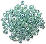 7.5 Grams of MiniDuo Czech Glass Beads - Chalk Green Luster