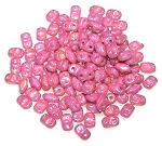 7.5 Grams of MiniDuo Czech Glass Beads - Chalk Red Luster