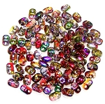 7.5 Grams of MiniDuo Czech Glass Beads - Crystal Magic Red Yellow