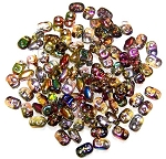 7.5 Grams of MiniDuo Czech Glass Beads - Crystal Magic Yellow Brown