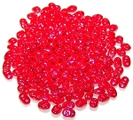 7.5 Grams of MiniDuo Czech Glass Beads - Opaque Coral Red White Luster
