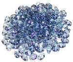 7.5 Grams of MiniDuo Czech Glass Beads - Transparent Blue Luster