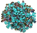 7.5 Grams of MiniDuo Czech Glass Beads - Turquoise Vitrail